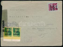 1945 (5. díjszabás) Cenzúrázott levél Budapestről Bécsbe Kisegítő III. 2x 100P/12f + 300P/30f bérmentesítéssel (hajtott)/ Mi 2x819 + 820 on cover to Wien