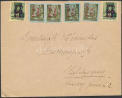 1946 (15. díjszabás) Távolsági levél 15 db bélyeggel bérmentesítve (6 bélyegzés nélkül)