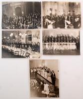 cca 1935 Társasági élet Budapesten, bankettek, bálok, vacsorák, 5 db fotó, 18x24 cm