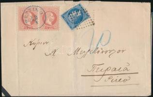 "2 x 5sld levélen 20L görög portóval, kék ""RETTIMO"" - Pireo (hajtott) 2 x 5sld on cover with 20L Greek postage due, blue ""RETTIMO"" - Pireo (folded)"
