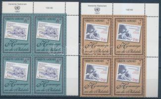 Stamp collecting set in margin blocks of 4, Bélyeggyűjtés sor ívsarki négyestömbökben