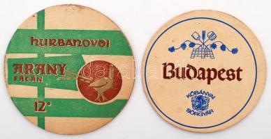 cca 1950 2 db régi söralátét: Hrubanovoi Arany Fácán + Kőbányai sörgyár / Vintage beer mats