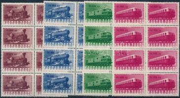 Railway jubilee set blocks of 4, Vasútjubileum sor nyolcastömbökben (19.200)