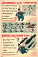 1941 Uma fanfarronada alema, Confissao Alema / Anti-German propaganda, cartoon humour, 1941 A németek blöffje és vallomása, németellenes propaganda, humoros rajz