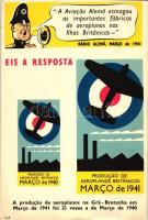 "1941 ""Eis a reposta"" / Anti-German propaganda, military plane production, cartoon humour, 1941 ""Itt a válasz"", hamis német jelentések a brit repülőgépgyártásról, németellenes propaganda, humoros rajz"