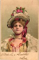 Lady, decorated litho, Nő virágos kalapban, litho