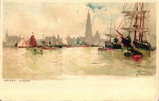Antwerpen, Anvers; La Rade, litho s: H. Cassiers
