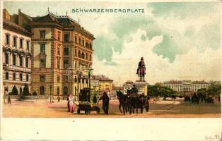 Vienna, Wien, Schwarzenbergplatz / square, litho