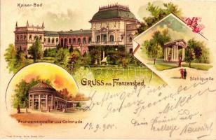 Frantiskovy Lazne, Franzensbad; Kaiser-Bad, Stahlquelle, Colonade; Verlag Friedr. Kirchner / spa buildings, litho