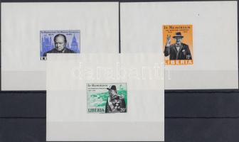 1966 Winston Churchill de Luxe vágott blokksor Mi 644-646