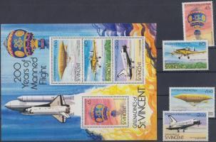 Bicentenary of air transport set + block, 200 éves a légi közlekedés sor + blokk