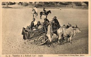 Travellers in a Bullock Cart, Jaipur; folklore, Utazók ökörfogaton, Dzsaipur; folklór