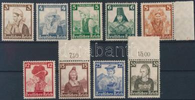 1935 Népviselet sor Mi 588-596 (hiányzik a záróérték)