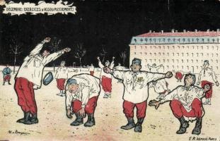 Decembre, Exercices d'assouplissements / WWI French military humour, artist signed, I. világháború francia hadsereg, humor, művész aláírásával