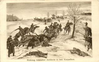 Rückzug russischer Artillerie in den Karpathen / WWI K.u.K. military, withdrawal of the Russians, I. világháború K.u.K. hadsereg, az oroszok kivonulása
