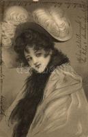 Lady, hat, litho, Hölgy, kalap, litho