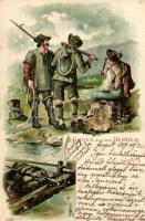1899 Gruss aus den Bergen / German mountain climbers, 7128. litho, 1899 Német hegymászók, 7128. litho
