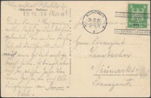 1926 Képeslap Münchenből a kézműipari kiállítás alkalmi bélyegzésével