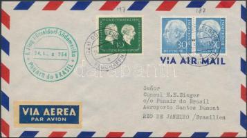 1954 PANAIR első repülés levél Heuss 30Pf vízszintes párral bérmentesítve / Heuss 30Pf horizontal pair on first flight cover