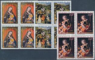 1970 Madonna festmények sor négyestömbökben Mi 217-219