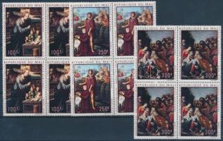 1970 Festmények sor négyestömbökben Mi 252-254