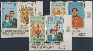 1982 Vilmos herceg ívsarki szelvényes sor Mi 682-684