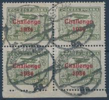 1934 Felülnyomott bélyeg ívszéli négyestömb Mi 289