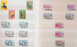Malajzia, Maláj államok 1965-1969 kis összeállítás 37 klf bélyeg 6 oldalas kis berakóban