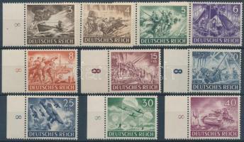 1943 Hősök napja ívszéli 10 érték Mi 831-835, 837-841 (Mi 836 és 842 hiányzik)