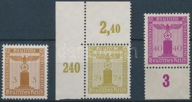 1938 3 db Hivatalos bélyeg Mi 145, 152, 154