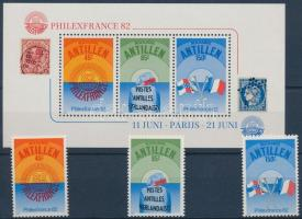 PHILEXFRANCE stamp exhibition set + block, PHILEXFRANCE bélyegkiállítás sor + blokk