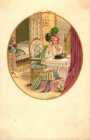 Girl, August Röckl, Vienne Nr. 1428. s: Pauli Ebner, Kislány a tükör előtt, Bécs Nr. 1428. s: Pauli Ebner