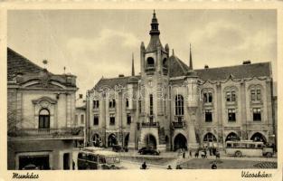 Munkács, Mukachevo; town hall, autobus, Munkács, Városháza, busz