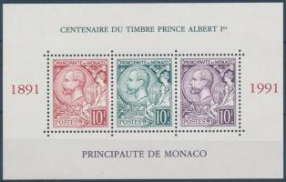 1991 100 éves az I. Albert herceget ábrázoló bélyeg blokk Mi 51