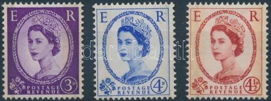1958 II. Erzsébet királynő 3 érték Mi 323-325 yz