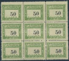 Nyugat-Magyarország VII. 1921 Lajtabánság Portó 50f kilencestömb, Bodor vizsgálójellel (5.400)