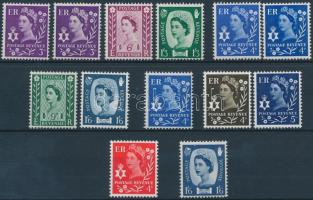 1958-1969 II. Erzsébet királynő 13 db bélyeg, közte variációk 1958-1969 Queen Elizabeth II 13 stamps