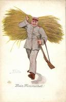 Mein Himmelbett! / German soldier, A.R. & C.i.B. No. 722. artist signed, Német katona, A.R. & C.i.B. No. 722., művész aláírásával