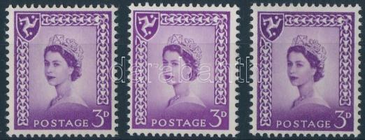 1958 II. Erzsébet királynő bélyeg 3 változatban Mi 1 x, xw, y