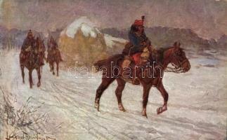 WWI Hungarian soldiers s: Lengyel-Reinfuss, Előörsön, Honvédelmi Ministerium Hadsegélyező Hivatal által kiadott s: Lengyel-Reinfuss