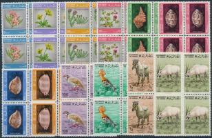 Animals and Flowert set blocks of 4, Állatok és virágok sor négyestömbökben