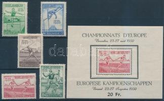 1950 Atlétikai EB, Brüsszel (I.) sor Mi 867-871 + blokk 23