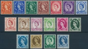 1958 II. Erzsébet királynő sor Mi 318-334 x (Mi 318 elfogazva)