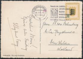 1955 Mi 213 képeslapon Hollandiába