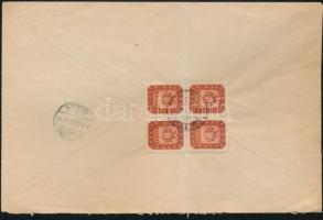 1946 (20.díjszabás) Távolsági levél Milpengős 5000mP négyestömbbel bérmentesítve