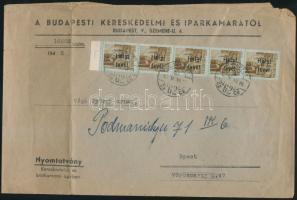 1946 (15.díjszabás) Helyi levél Betűs III. Helyi levél ötöscsíkkal bérmentesítve