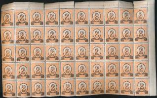 1931 Kisegítő 501B fél ív 50 bélyeg / Mi 471Ax half sheet, 50 stamps (ráncok / creases)
