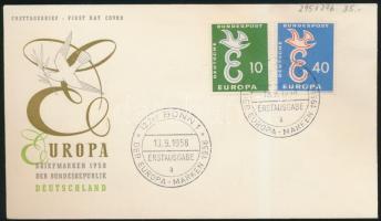 1958 Europa CEPT sor FDC-n Mi 295-296