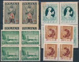 1947-1958 4 diff blocks of 4, 1947-1958 4 db klf 4-es tömb