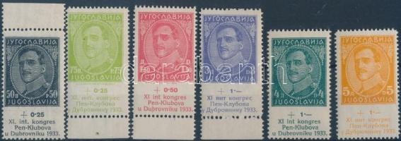 1933 PEN nemzetközi íróegyesület sor (közte ívszéli bélyegek) Mi 249-254